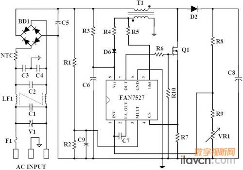 输入电容c5,输出电容c8,升压电感t1, mosfet q1,二极管d2等关键器件的