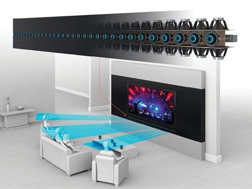 线阵扬声器启动时,用户可以使用智能麦克风或是与扬声器进行无线连接