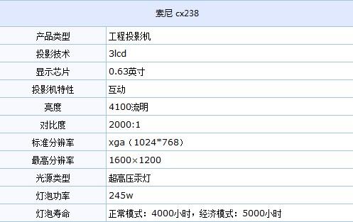 高亮工程投影机 索尼vpl-cx238热卖